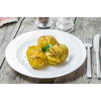 cartofi acordeon cu coriandru, chimen si curry